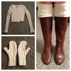 Old sweater to mittens and leg warmers.