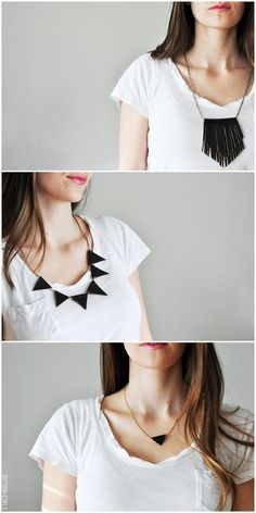 3 leather necklace tutorials- faux leather, chains