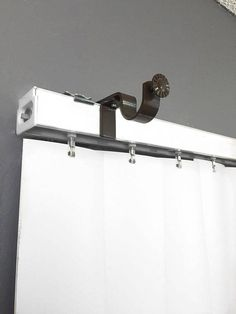 easily hang curtains over vertical blinds no tools required curtain rod bracket. Black Bedroom Furniture Sets. Home Design Ideas