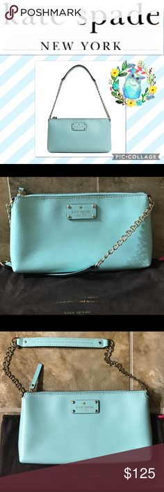 "♠️KaTe SpAdE WeLlEsLeY ByRd♠️ NWOT! Tiffany blue/ Robin's egg blue Kate Spade Wellesley Byrd! Dimensions are 10.3"" x 5.5"" x 1.2"" with an 8"" shoulder drop! Beautiful and fully functional for a night out or just a trip to the grocery store!!! Still selling in stores for $198 kate spade Bags Shoulder Bags"
