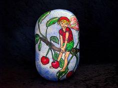 Beschilderde steen de kersenboom