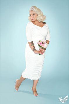 Monica Dress in Off-White Matte Jersey Knit - Plus Size