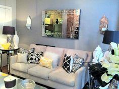 Mirror in neutral colors room. White/ cold decor