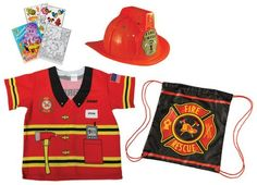 Aeromax Firefighter Shirt, Helmet and Bag Costume Role Play Bundle with Coloring Book * Details can be found by clicking on the image.