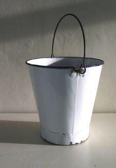 Vintage Enamelware. White Enamel Bucket Pail. Watertight. French shabby chic, farmhouse. £25.00, via Etsy.