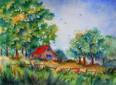 Watercolor of Barn Trees and Fence in the by MarthaKislingArt, $75.00