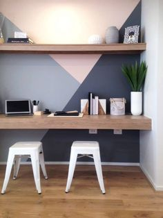 Wall paint is cool Home Office Design, Home Interior Design, Home Living Room, Living Room Decor, Dining Room, Bedroom Workspace, Small Home Offices, Study Nook, Sweet Home