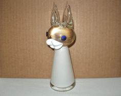ADORABLE Art Glass BUNNY Rabbit SIGNED 1960s WHIMSICAL LIPS Perfect EASTER GIFT