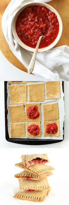 "STRAWBERRY RHUBARB POP TARTS! Sound awesome!!!  ""7-ingredient vegan pop tarts made with whole grain pastry and strawberry-rhubarb compote. Simple, fast and perfect for using up spring and summer fruit. SO flaky and perfectly fruity. Wholegrain and #vegan!"""