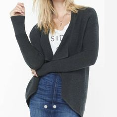 Express Gray Cascading Cover Up Sweater Charcoal gray. In great condition. Wash only. Express Sweaters Cardigans
