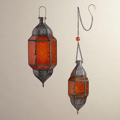 One of my favorite discoveries at WorldMarket.com: Orange Sabita Embossed Glass Hanging Lanterns