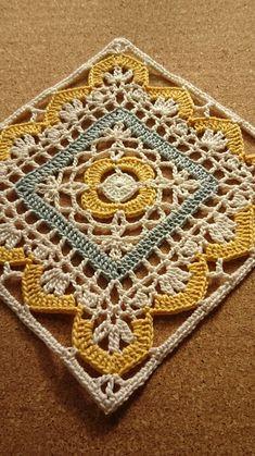 Crochet Mandala, Crochet Motif, Crochet Doilies, Crochet Flowers, Crochet Square Patterns, Crochet Squares, Crochet Granny, Turkish Tiles, Portuguese Tiles