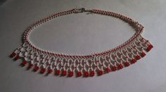 Red and White Beaded Choker Necklace by MICSJEWELSGALORE on Etsy