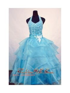 Custom Made Ball Gown Halter Top Beading Little Girl Pageant Dresses Light Blue Orangza    http://www.fashionos.com  http://www.facebook.com/quinceaneradress.fashionos.us   The gorgeous v-neck halter top ball gown dress shines for the all-over beading on the fitted bodice and straps. The full skirt is completed with layers of organza.