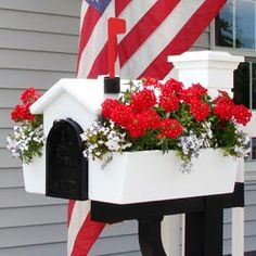 Americana Mailbox Planter - Americana Mailbox Planter covers up a drab, metal mailbox! Add curb appeal to your home with the Americana Mailbox Planter! The house-sha Mailbox Planter, Mailbox Garden, Outdoor Projects, Outdoor Decor, Outdoor Ideas, Unique Mailboxes, Flower Boxes, Amazing Gardens, Container Gardening