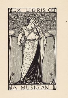"""Ex Libris of a Musician. Louis Rhead (1857-1926). FromA Collection of Book Plate Designsby Louis Rhead.Boston: W.P. Truesdell, 1907.""""In his book-plate designs Mr. Rhead has been equally successful; and seems to have brought to this branch of art all the originality, decorativeness and perfection of his larger and more pretentious work."""""""