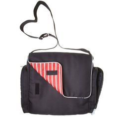 Love this diaper bag from Polarn O. Pyret -- on the outside a lovely neutral;  on the inside stripes!