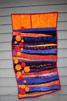 Modern fiber art quilt, contemporary art wall hanging