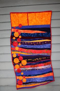 Modern fiber art quilt, contemporary art wall hanging
