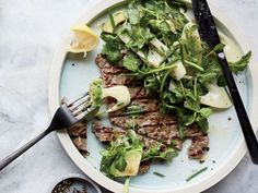 Mepra Linea Oro Nero looking fab at Food & Wine Mag. Check our the recepe: Pounded Beef Tenderloin with Hearts of Palm Salad Quick Beef Recipes, Meat Recipes, Wine Recipes, Salad Recipes, Healthy Recipes, Lamb Recipes, Healthy Dishes, Healthy Options, Healthy Meals