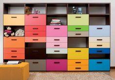 Colorful Bedroom Storage
