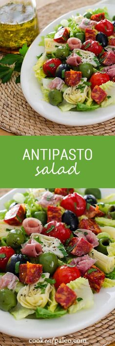 Antipasto salad is an easy no-cook weeknight meal. Gluten-free, dairy-free, and paleo - perfect when you don't want to turn on the stove. ~ http://cookeatpaleo.com