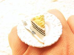 Food Ring Chocolate Vanilla Layered Cake Miniature Food Jewelry - wear it instead of eat it ;) $12.50 Sou Zou Creations #rings #playful #japanese