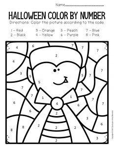 Vampire Color by Number Halloween Preschool Worksheets Halloween Craft Activities, Halloween Worksheets, Preschool Art Projects, Halloween Arts And Crafts, Daycare Crafts, Preschool Worksheets, Preschool Activities, Thanksgiving Activities, Halloween Color By Number