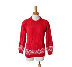 Vintage 80s Red and White Heart Sweater  by bluebutterflyvintage, $22.00