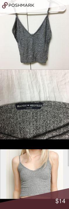 Brandy Melville Gray Knit Tank Cute gray knit tank, tight fit Brandy Melville Tops Tank Tops