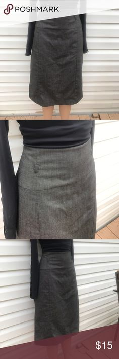 Worthington 12 gray herringbone high waisted skirt 16 inches waste laying flat total length down back of skirt is 26.75 inches down middle. One back slit is sown with an X and I'm thinking the other back slit also used to be sewn with an X but it has come undone if so. I'm not sure it could be made like that. Has belt loops for a tiny belt. The belt would have to be no more than .75 inches wide. Worthington Skirts Pencil