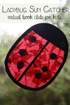 Ladybug Sun Catcher - Virtual Book Club for Kids Mem Fox Month - http://rainydaymum.co.uk/ladybug-sun-catcher-virtual-book-club-kids-mem-fox-month
