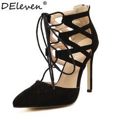 Fashion Women's Sexy Criss Cross Lace-up Cutouts Pointed Toe High Heels Shoes Back Zipper Woman Stiletto Heel Pumps Black Nude