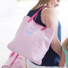 Pink Seersucker Monogrammed Tote Bag