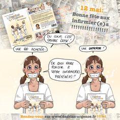 12 mai, bonne fête aux infirmier(e)s !!!!!! Du coup ici, on voit DOUBLE !!! Une BD achetée et une OFFERTE !!! De quoi faire plaisir à votre IDE préféré(e) avant la rupture de stock !!!!! Mais ça marche aussi pour les aides-soignant(e)s, ASH, médecins, kinés, ambu… que j'aime tout autant !!!!! Profitez de l'offre jusqu'à … 12 Mai, Comics, Happy Name Day, Everything, Male Nurse, It Works, Comic, Cartoons, Comics And Cartoons