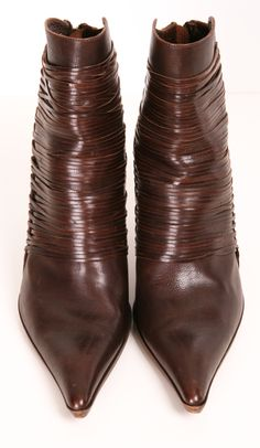 Brown leather pointed toe ankle boot