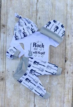 This Rock Me All Night bodysuit can be purchased alone or as a set! Great for bringing your baby boy home from the hospital or for newborn photos. The Full Set includes: Bodysuit, Choice of Pants, footed pants or Shorts, Newborn Baby Outfits, Newborn Outfits, Baby Boys, Carters Baby, Toddler Girls, Baby Rocker, Rocker Outfit, Baby Shower Gifts For Boys, Coming Home Outfit