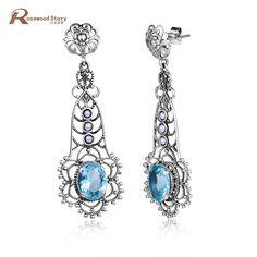 New Arrival Vintage Blue Rhinestone Crystal 925 Sterling Silver Drop Earrings for Women Bohemian Large Long Earrings Jewelry  #Affiliate