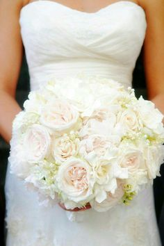Elegant Wedding Bouquet Featuring: Garden Roses, Gardenias, Lily Of The Valley