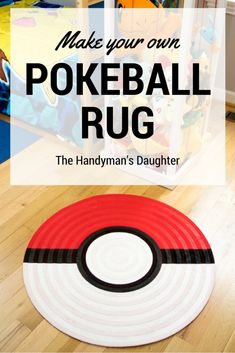 This pokeball rug is perfect for your little Pokemon trainer! Create this simple… This pokeball rug is perfect for your little Pokemon trainer! Create this simple area rug for a Pokemon themed bedroom with a circular rug and fabric paint.