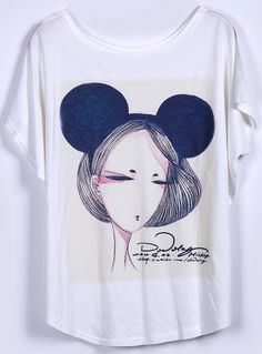 Camiseta suelta estampada Guapa mangas cortas-Blanco EUR14.73