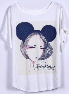 White Short Sleeve Beauty Print Loose T-Shirt - Sheinside.com