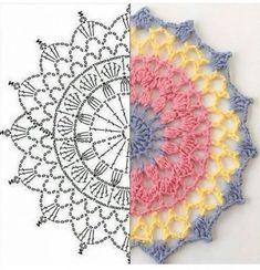 Image gallery - Her Crochet Motif Mandala Crochet, Crochet Circles, Crochet Doily Patterns, Crochet Chart, Crochet Doilies, Crochet Flowers, Crochet Stitches, Knitting Patterns, Crochet Doily Diagram