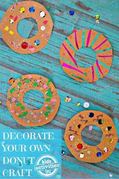 Inspired by our monthly decorate your own donuts Sunday breakfast bar, this Decorate Your Own Donuts Craft may not be as yummy, but it is just as fun. Let the children decorate their donuts as they… Party Activities, Craft Activities For Kids, Crafts For Kids, Arts And Crafts, Paper Crafts, Spanish Activities, Diy Crafts, Donut Birthday Parties, Donut Party