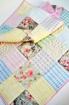 Vintage Chenille Rosette Baby Quilt with Floral Satin and Minky