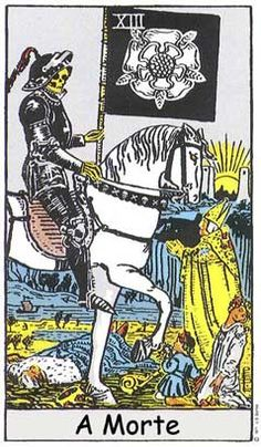 Death (XIII) is the thirteenth trump or Major Arcana card in most traditional Tarot decks. It is used in Tarot, tarock and tarocchi games as well as in divination. Major Arcana Cards, Tarot Major Arcana, Tattoo Tarot, Xiii Tarot, Tarot Rider Waite, Tarot Waite, Tarot Death, Tarot Significado, Tarot Decks