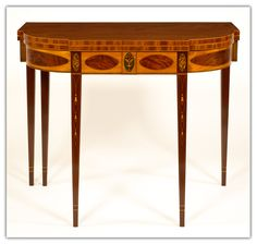 """Federal """"D"""" shaped table. Straight lines with veneered decor elements (stationary top, pictorial inlay of an urn with flowers, tapered legs with inlaid die of a flower-head above three bellflowers) Southern Furniture, French Furniture, Luxury Furniture, Antique Furniture, Painted Furniture, Furniture Design, Table Cards, Card Tables, Regency Furniture"""