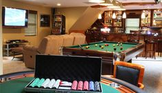 Small but perfect basement. Areas for (tv/videogames/sleeper sofa couch), (poker table/pool table), (full bar/wine cellar), (builtin storage for games, books, etc.), (small 1/2 bath)
