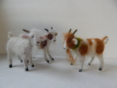 Three Goats Set, soft, fuzzy and sweet.. youll love this small sized set of goats. They are three inches tall and three inches long. You will love