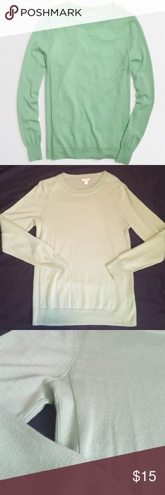 J. Crew Factory Sawyer Sweater Merino wool/acrylic. Hits at hip. Long sleeves. Machine wash. Bought on Posh NWT and wore twice. Has been laundered. Like new condition. Stock cover photo shows the accurate color. Ribbed detail along the flank. Price is firm - No trades. J.Crew Factory Sweaters Crew & Scoop Necks